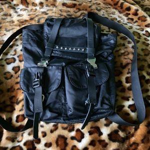 TopShop Black Vinyl Ladies Backpack with Studs